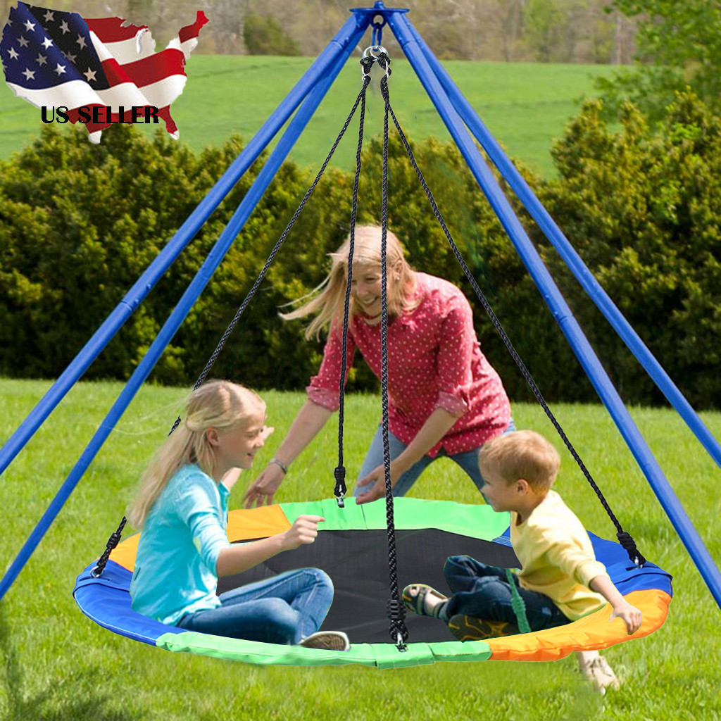 40 Inch Flying Saucer Tree Swing Kids Play Set Swing Children Sports Outdoor Indoor Multi-Strand Ropes Safety Swing HWg3