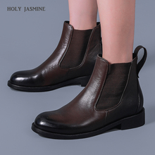 Classic Chelsea Boots Women Genuine Cow Leather Waxing Round Toe Autumn Winter Ladies Ankle Boot Shoes Handmade 2020 New Shoes smile circle suede cow leather chelsea boots women ankle boot fashion rivets round toe lady shoes women high heel boots