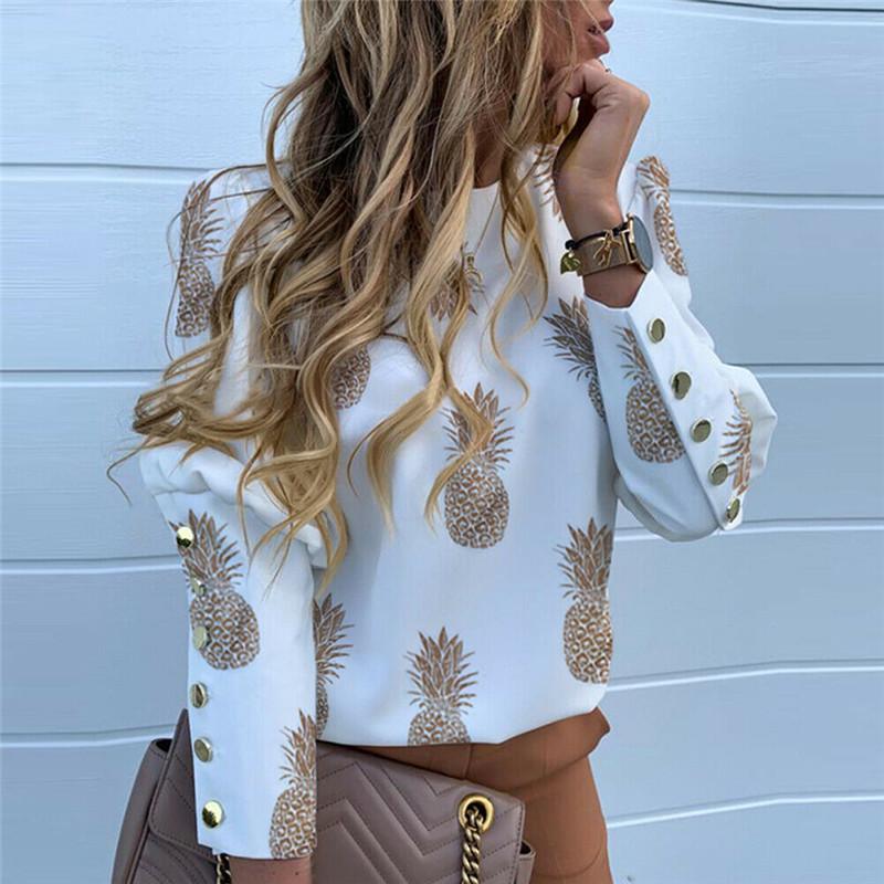 Pineapple Print Shirt Women Loose Slim Casual OL Blouse Ladies Long Sleeve Cropped Tops O Neck Fashion Work Shirts