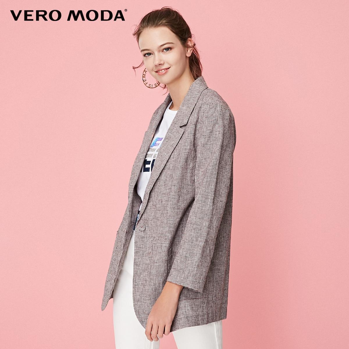 Vero Moda Women's Cotton Plaid Lapel One-button Wrist Sleeves Blazer   319108512