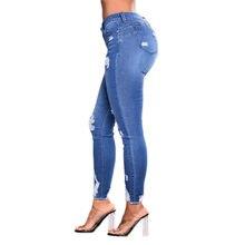 Mavi Benim pantolon kadın rahat delik yüksek bel sıkı bacak pantolon seksi şınav streç kalem pantolon yeni kadın pantolonları 2020