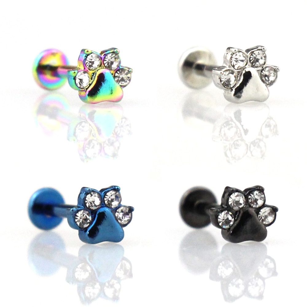 1pc Paw Zircon Labret Lip Ring Stainless Steel Internally Threaded Monroe Ring Body Jewelry 16g Cartilage Tragus Helix Piercing