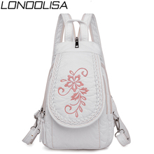 New Women Backpack Fashion Embroidery Flowers Ladies Chest Bag Soft Washed Leather Travel Back Pack  Bagpack Mochila Feminina