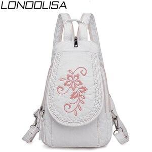 Image 1 - 新しい女性バックパックファッション刺繍花女性の胸バッグソフト洗浄革トラベルバックパックbagpack mochila feminina