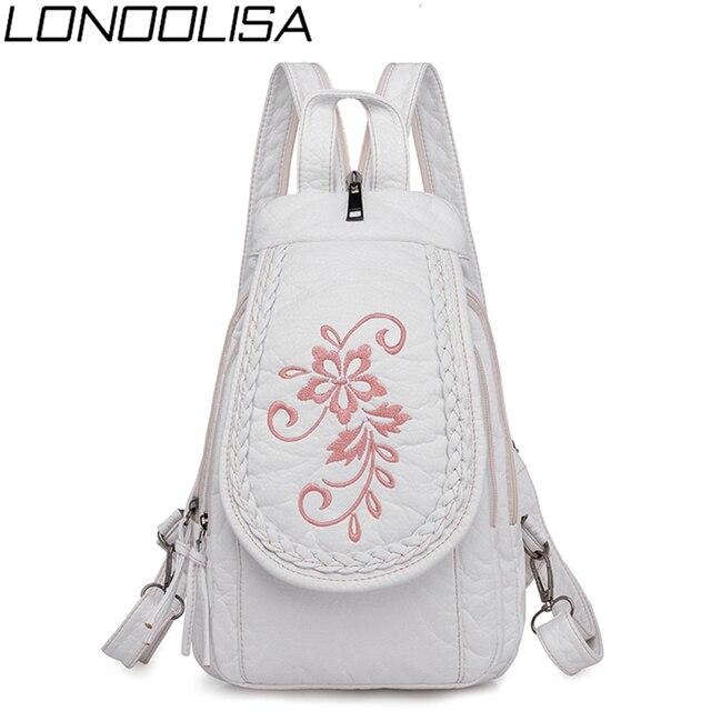 新しい女性バックパックファッション刺繍花女性の胸バッグソフト洗浄革トラベルバックパックbagpack mochila feminina