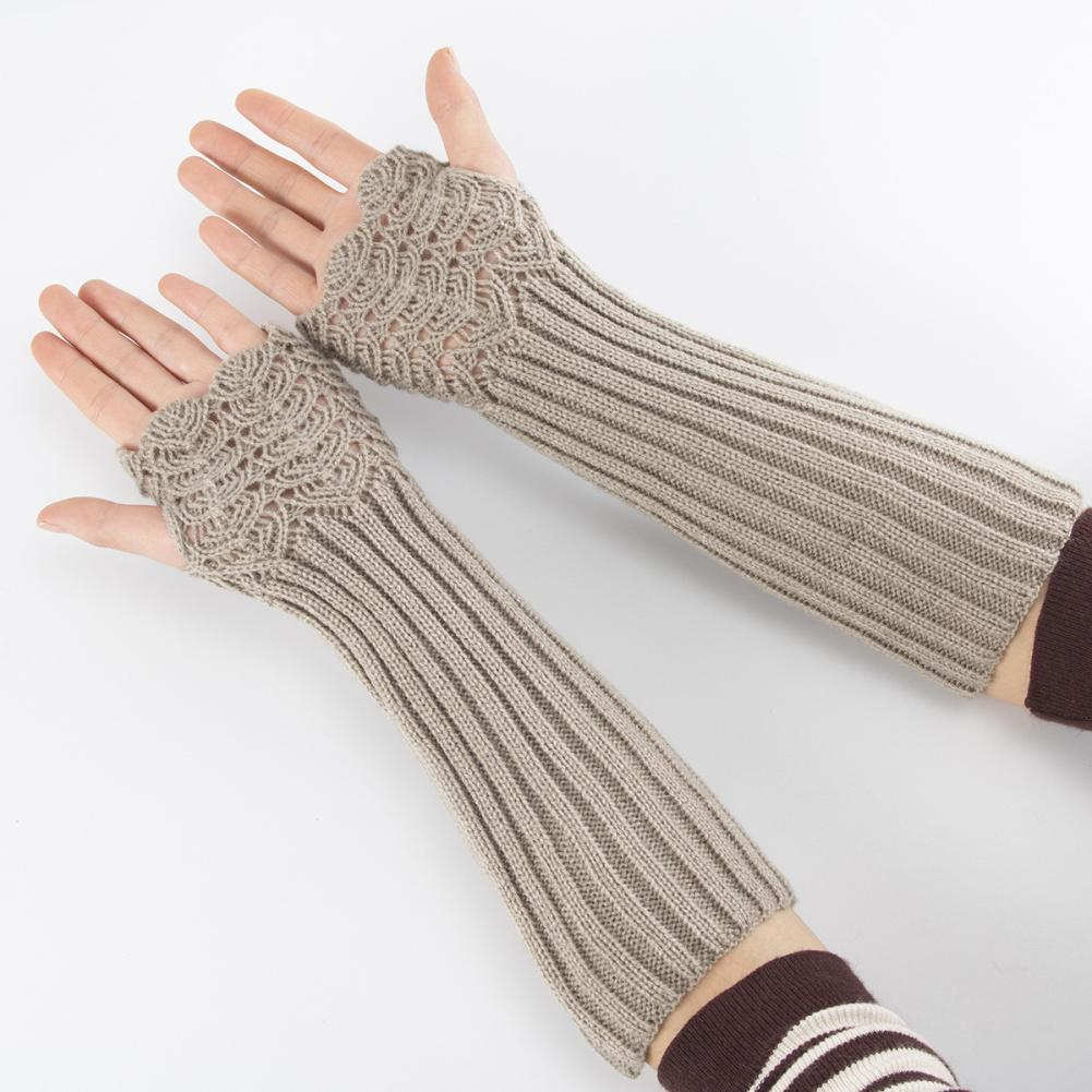 2020 Lady Solid Color Knitted Arm Warmer Sleeve Winter Stretch Fingerless Long Gloves