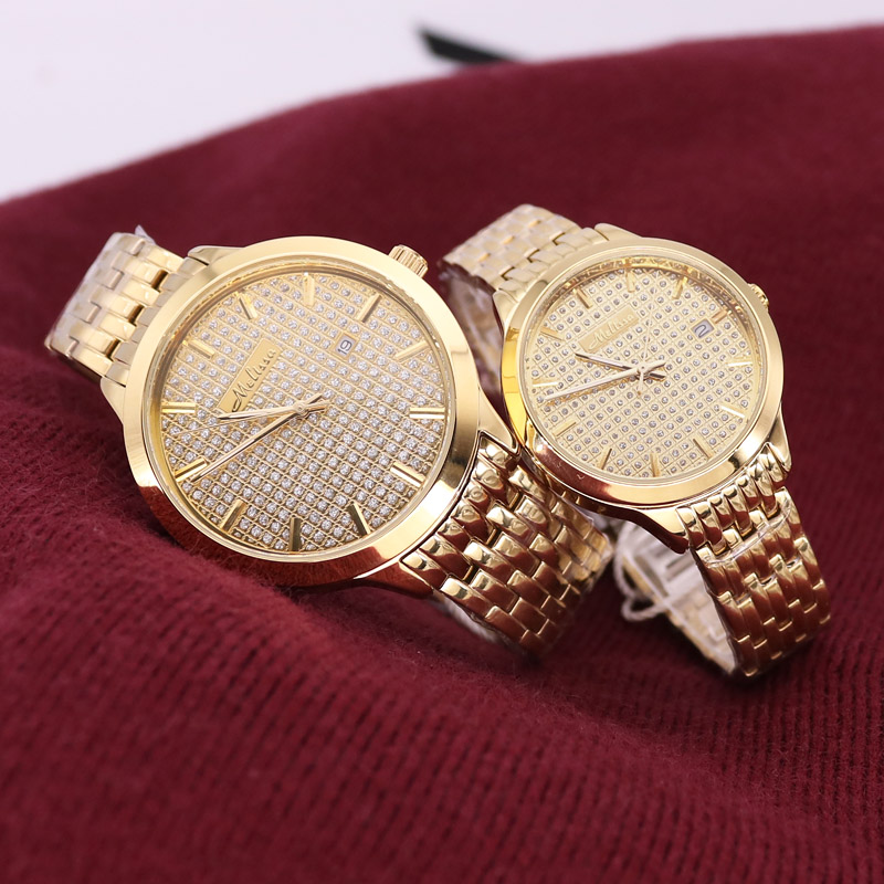 Luxury Melissa Auto Date Men's Watch Women's Watch Elegant Rhinestone Large Hours Crystal Clock Girl's Birthday Gift Box