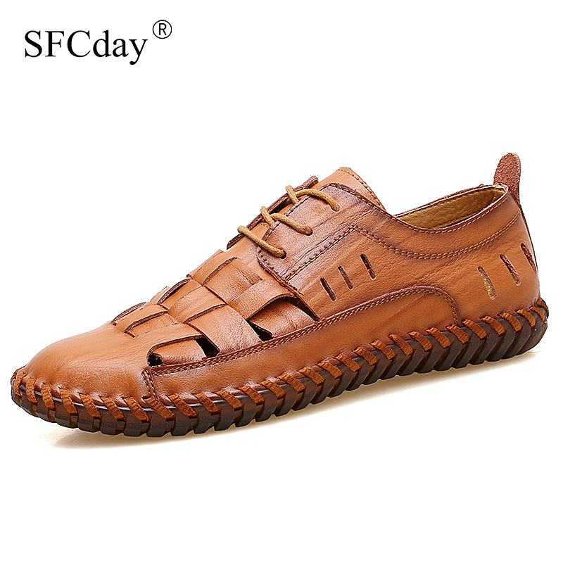NEW 2019 Summer Handmade Genuine Leather Men Shoes Fashion Men Flats Exquisite Design Lace-Up Comfortable Men Casual Shoes