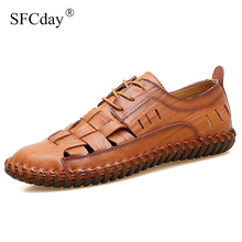 NEW 2019 Summer Handmade Genuine Leather Men Shoes Fashion M