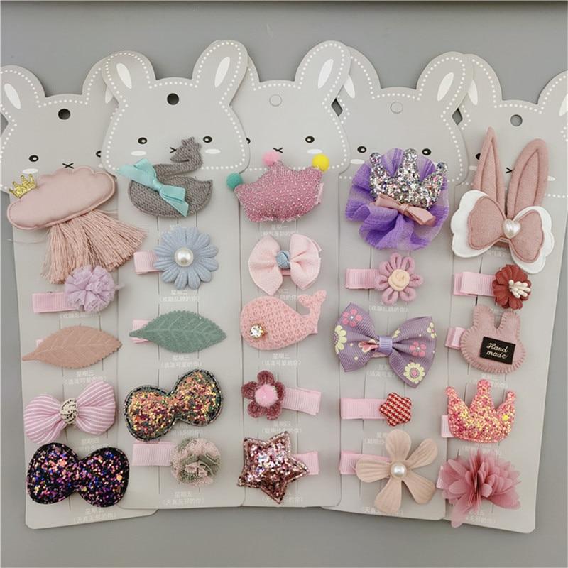 New 5 PCS/Set Hair Clips For Girls Fashion Sweet Girl Cartoon Style Hairpin Cloth BB Handmade In Hairband Hair Accessories