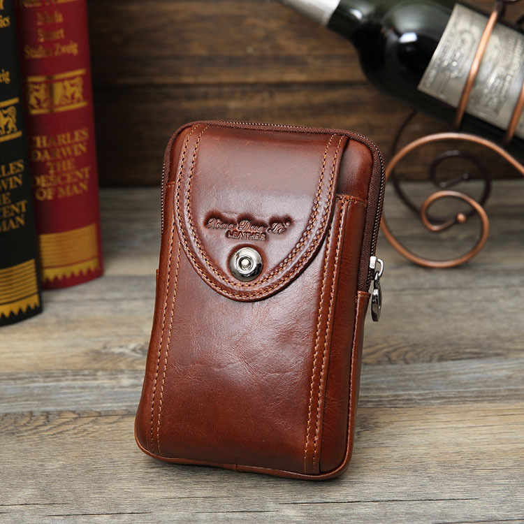 Small Dolly Men Retro Genuine Leather Mobile Phone Waist Bag Wear Leather Belt 5.5/6-Inch Mobile Phone Bag Xiao Gua Bao Mini Wal