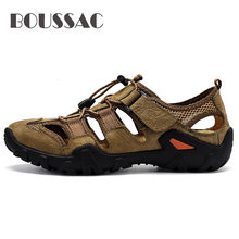 BOUSSAC Outdoor Hiking Shoes Waterproof Men Hiking Sandals Genuine Leather Mountain Trekking Sports Sneakers Antiskid Auqa Shoes(China)