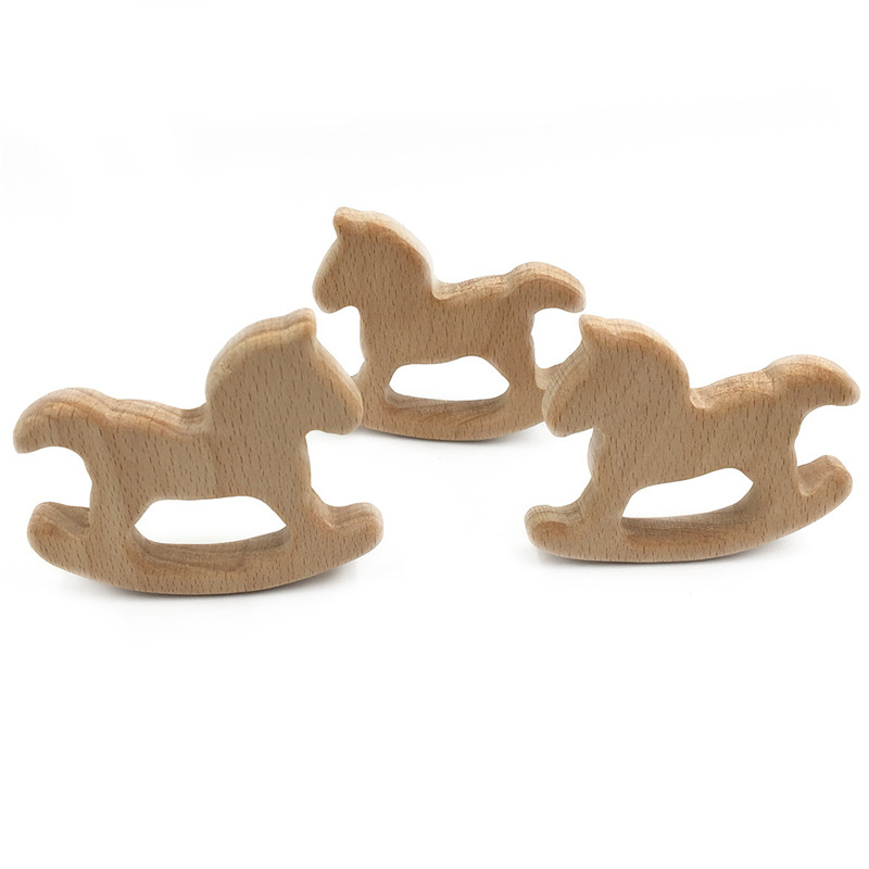 DIY Cartoon Horse Natural Beech Wooden Teether Pacifier Chain 3C Safety  Certification Wooden Baby Teether Toys For Newborn Gift