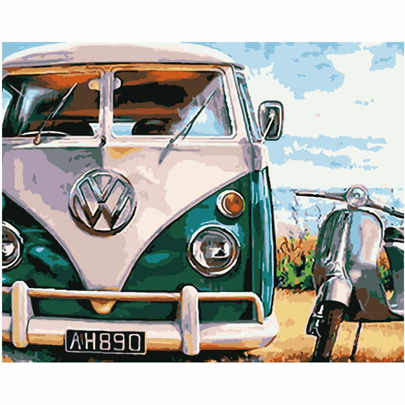 دروبشيبينغ 60x75 سنتيمتر اللوحة بواسطة أرقام DIY الرجعية الأخضر سيارة لا تزال الحياة جدار صورة فنية الاكريليك اللوحة ل الزفاف الديكور