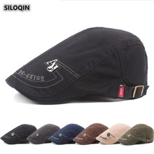 SILOQIN  Mens Cap Summer Autumn New Cotton Berets Letter Embroidery Retro Visor Hats For Men Adjustable Size Leisure Motion