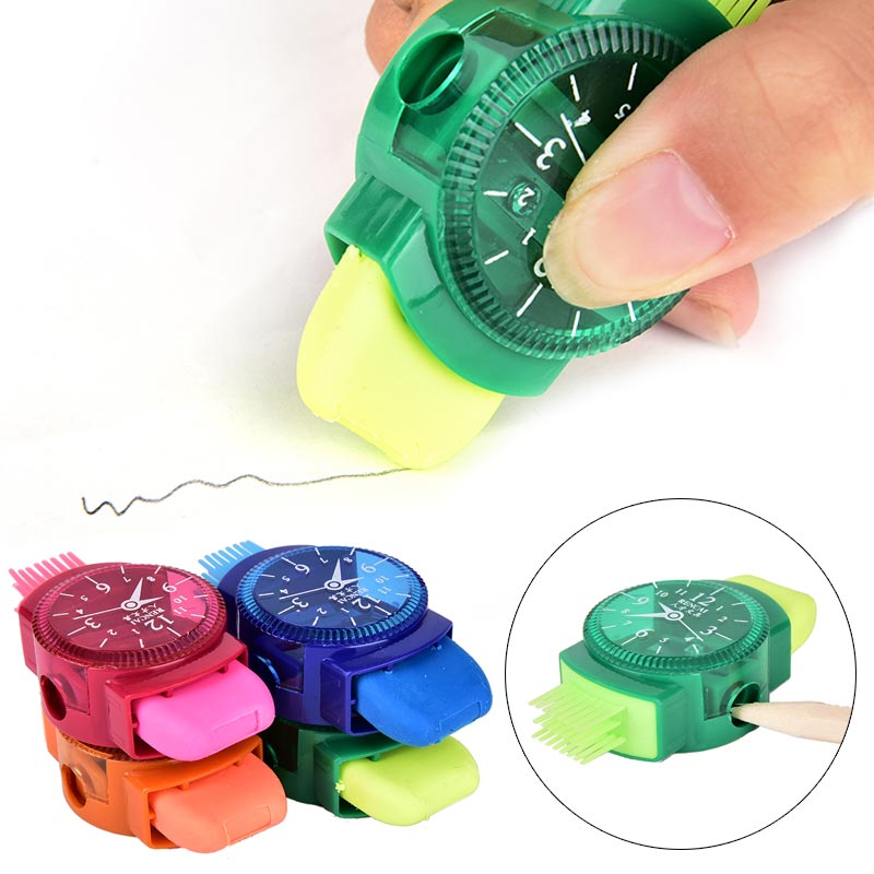 Erasers Brush Machine Pencil Sharpener Three-In-One Mini Writing Pens School Children Multifunction Novelty Gifts Grinder Tools
