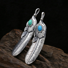 S925 Sterling Silver Jewelry Vintage Thai Silver Inlaid Turquoise Handmade Feather Pendant for Men and Women s925 filaments shaolan craft silver inlaid huang yusui pendant in front of blessing silver supply