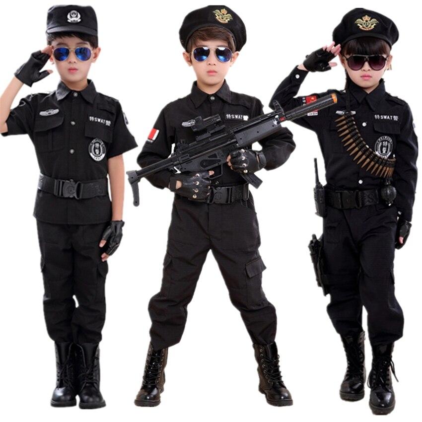 110-160cm Children Policemen Cosplay Costume Army Military Uniform Carnival Children's Day Kids Performance SWAT Clothing