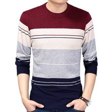 Autumn Fashion Brand Clothing Men Knitted Sweater Knitwear Sweater Thick Stripes Slim Fit Pullover Men O-Neck Sweater for Men