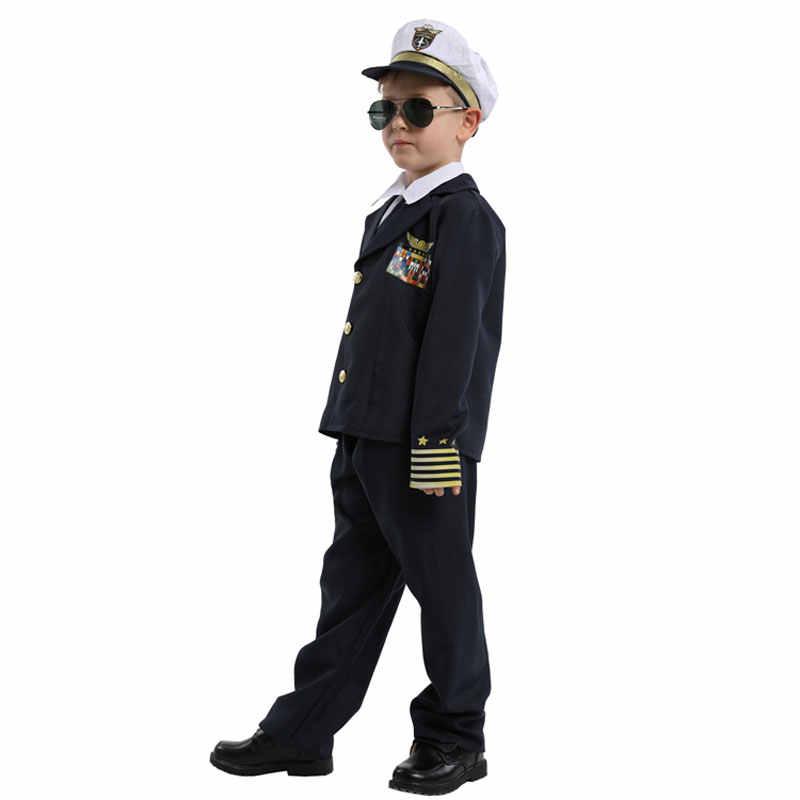 Dzieci dziecko granatowy admirał kapitan Pilot kostium mundur dla chłopców Halloween Purim Carnival Party Mardi Gras przebranie
