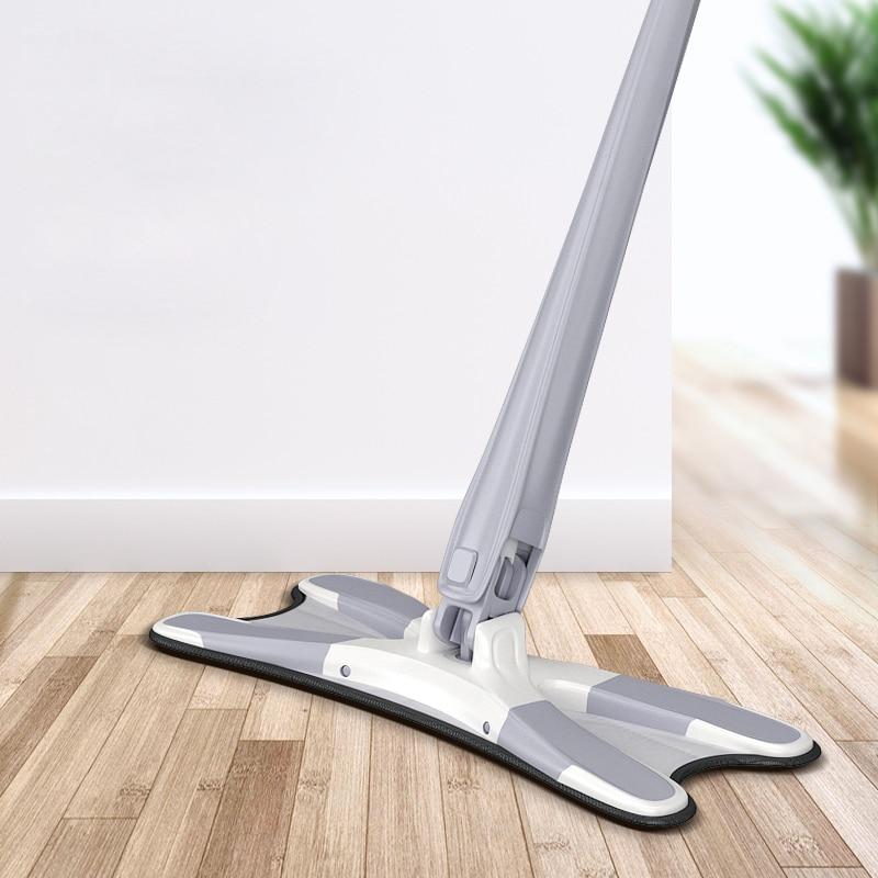 Vadrouille de sol de type X, avec 3 pièces, serviettes en microfibre réutilisables, vadrouille plate à 360 degrés pour le lavage à la main, outils de nettoyage ménagers