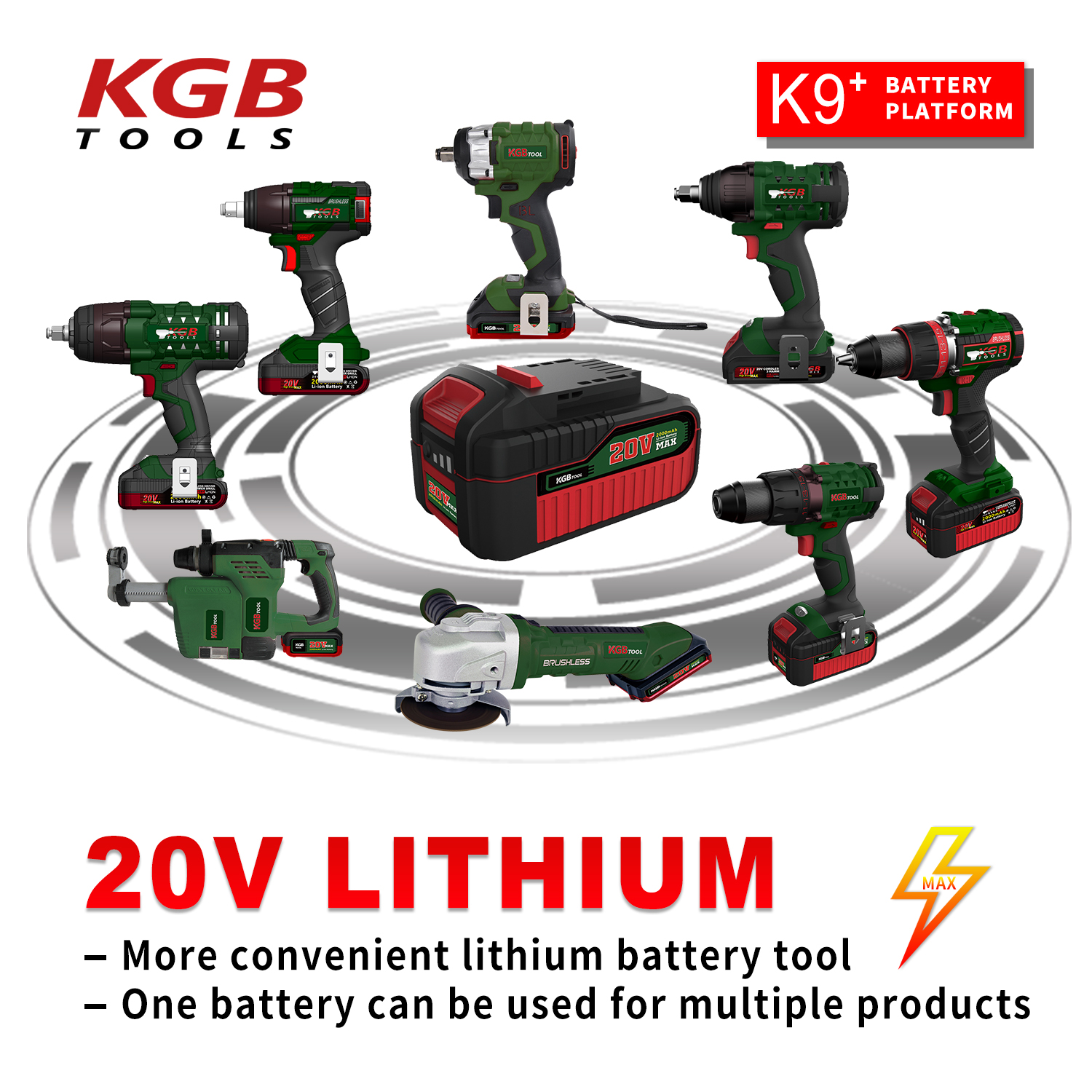 KGB 4 pole 20V motor Cordless Electrical impact wrench Socket for Changing  Tire Tools