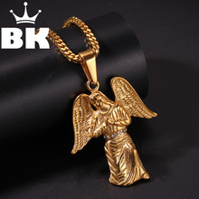 THE BLING KING Custom Stainless An angel with Wings Necklace Hip Hop Full Iced Out Cubic Zirconia gold sliver CZ Stone(China)