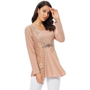 Image 4 - YTL בתוספת גודל נשים חולצה בציר אביב סתיו פרחוני הסרוגה תחרה למעלה כותנה שרוול ארוך טוניקת חולצה חולצה 6XL 7XL 8XL H025
