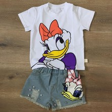 Baby Girls Toddler Shorts Demin Cartoon Daisy Pattern Ripped Hole Short Jeans Pants Summer Pearls Kids Trousers Children Clothes