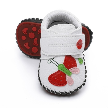 Autumn Newborn Baby Girls Soft Shoes Non-slip Footwear First Walkers Toddler Infant PU Leather Shoes print baby first walkers girls toddler shoes 11cm 12cm 13cm spring autumn children footwear