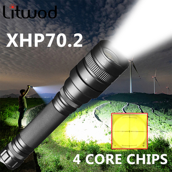 Xhp70.2 Lamp Led Flashlight Bike Torch Lantern Waterproof 18650 Battery Shock Resistant Self Defense Hard Light Zoom Bulbs 8000lm led xml t6 zoom flashlight torch zoom able bike lamp light lamp torches lantern 18650 battery charger bike clip z50