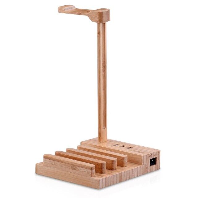 سماعة موقف خشبية سماعة حامل العالمي مكتب عرض شماعات مع USB واجهة الاتحاد الأوروبي التوصيل كابل Qualtiy جيدة الأزياء 1 قطعة
