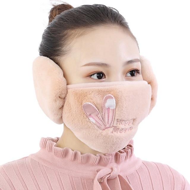2 In 1 Rabbit Ear Earmuffs Kids Mouth Mask Windproof Mouth-Muffle Anti Dust Winter Children Anti Haze Flu Cotton Face Cover 3