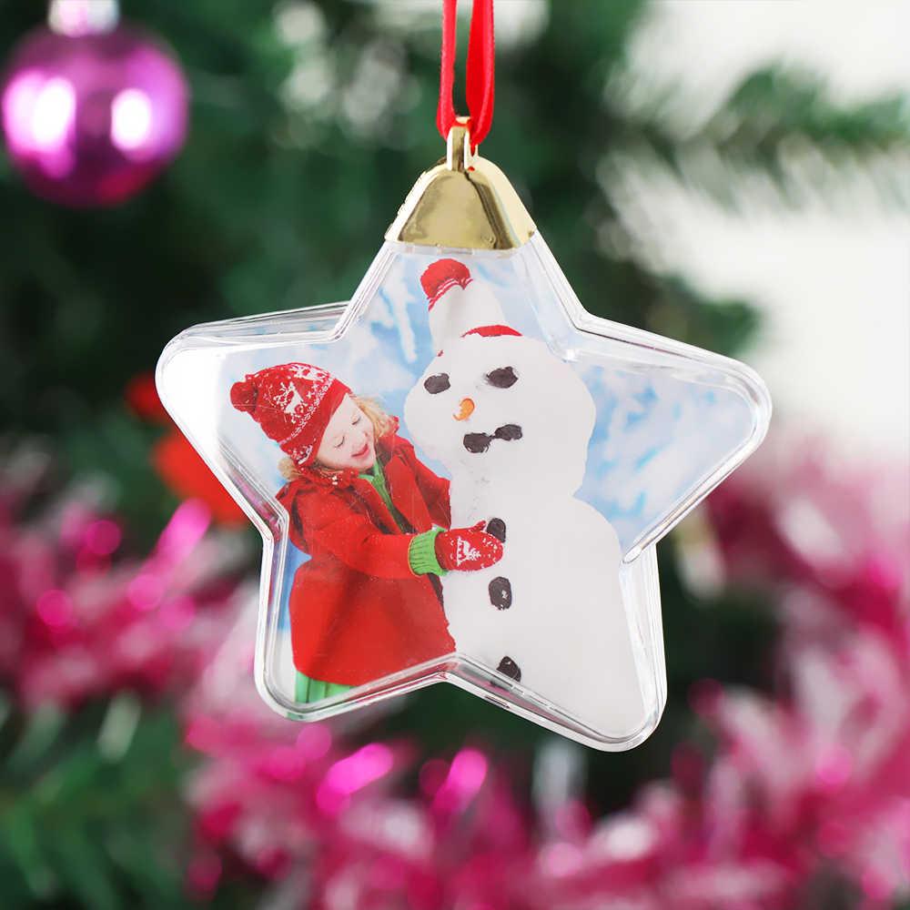 1pc transparente bola de natal redonda cinco estrelas moldura da foto pingente pendurado suporte de imagem artesanato fonte festa de natal ornamentos de árvore