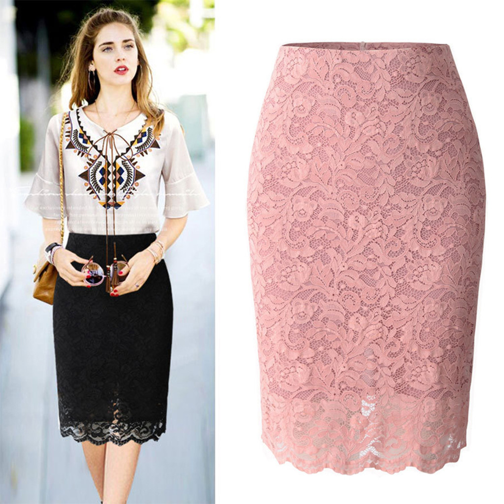 Skirts Womens Lace Skirt юбка женская Sweet Plain Slimming Tight  Fit Ladies Soft Stretch Lace High Waist Skirt Free Ship Z4