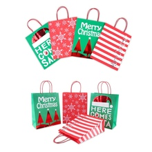 12Pcs Christmas Gift Tote Bag Portable Biscuits Bread Decoration Fashion Kraft Paper Products