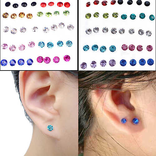 20 Pairs/Set Women's 5mm Clear/Multicolor Stone Crystal Ear Studs Set Allergy Free Earrings For Women Girls Jewelry Wholesale