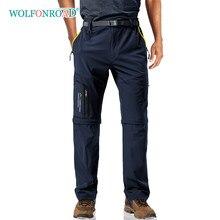 Wolfonroad com 5 bolsos com zíper leve conversível calças de secagem rápida dos homens ao ar livre shorts caminhadas andando carga
