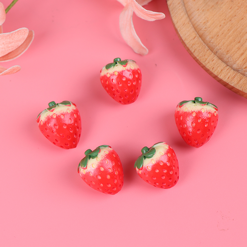 5Pcs Resin Simulation Mini Fake Fruit Decor Strawberry Artificial Model Props House Party Decor 1:12 Dollhouse Kitchen Toys