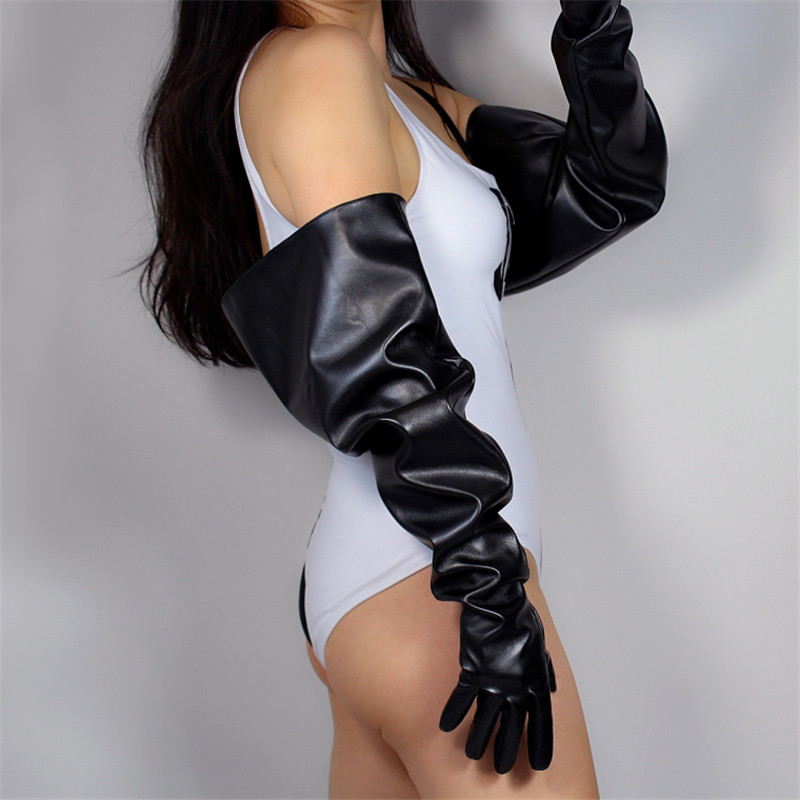 Touchscreen Long Gloves 70cm Extra Long Big Sleeve Wide Cuff Lantern Sleeve Emulation Leather Black Male Female WPU135