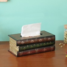 Retro Style Book Tissue Box Luxurious Europe Retangle Napkin Paper Holder Ring Storage