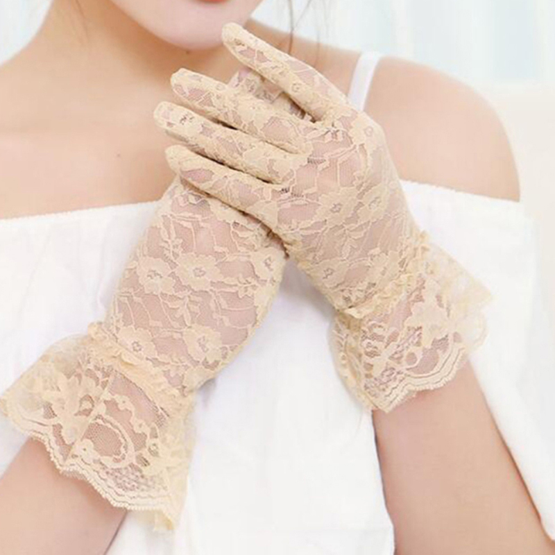2019 Hot Sale Women Lace Print Pattern High Quality Gloves Lady Elegant Fashion Sun Protection Gloves 5 Colors