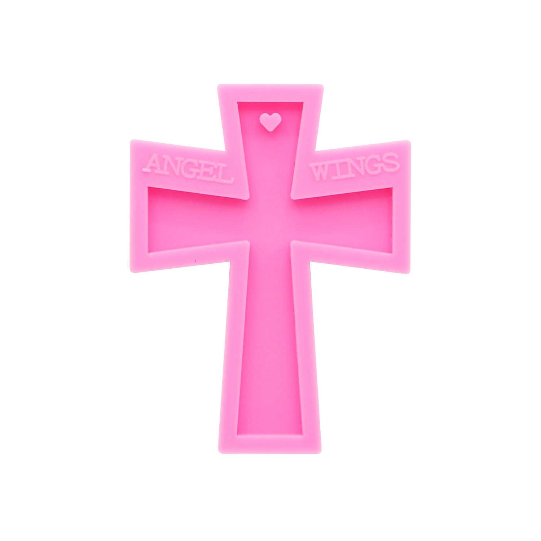 Shiny sleutelhangers Cross vorm Siliconen Mallen DIY Sieraden sleutelhanger schimmel Epoxyhars Mal Custom DY0154