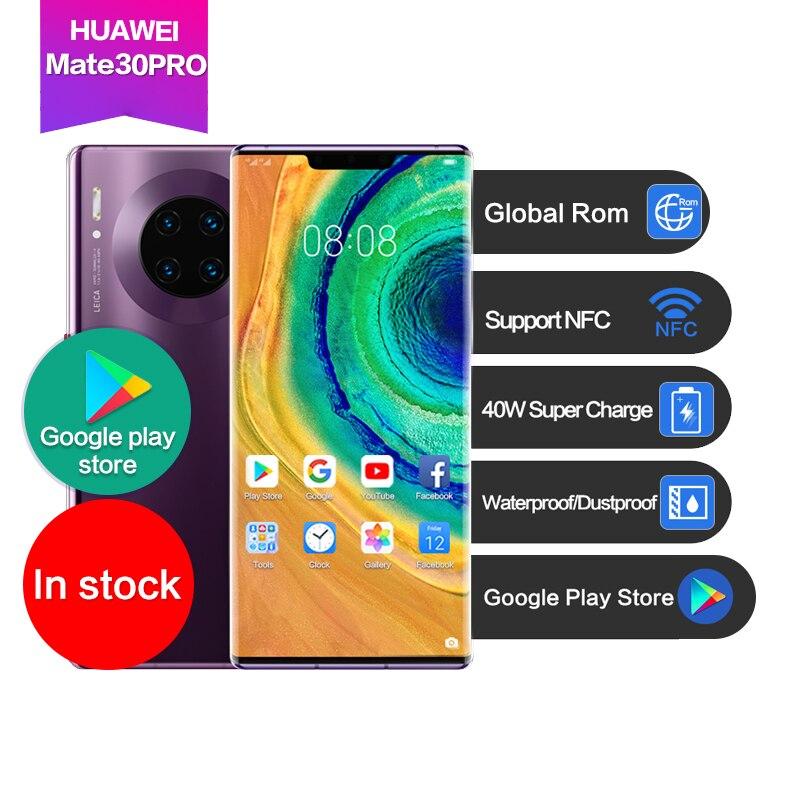Huawei mate 30 pro 6,53 Глобальная ПЗУ OLED с 3-кратным зумом Поддержка Google NFC водонепроницаемый 40WSuper зарядка лица + отпечаток пальца 4500 мАч 7 камер