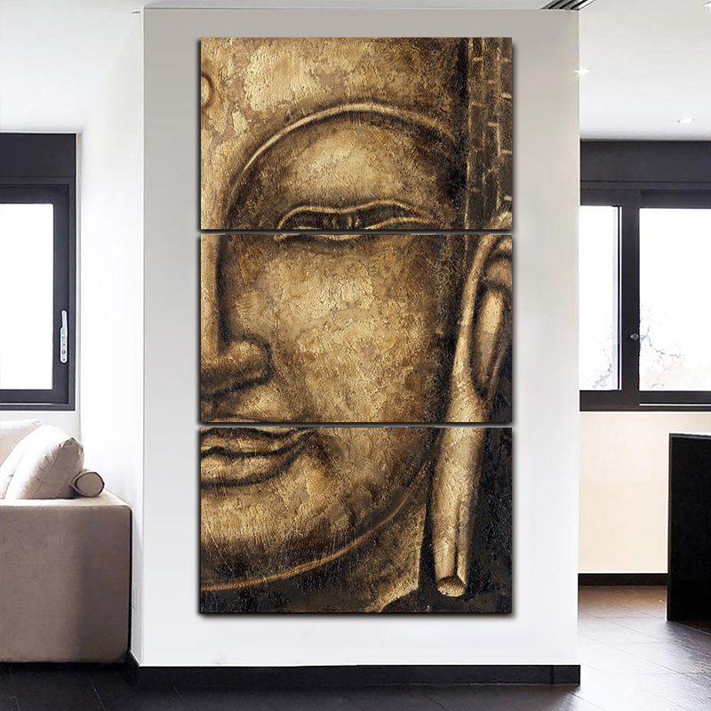 HD Printed 3 Pieces/Set Canvas Art Modular Painting Buddha For Living Room Wall Print Picture Unframed