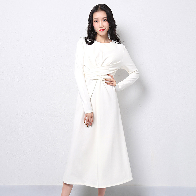 2019 Autumn New Style Women's Crew-neck Long-sleeve Top High-waisted Slim Fit Mid-length Dress Solid Color Irregular A- Line Ski