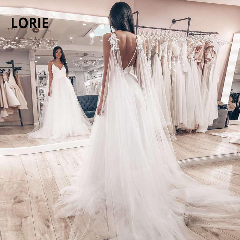 LORIE Spaghetti Straps Beach Wedding Dress V-neck And Backless Long Shoulder Strap Appliques Bride Gown Satin With Soft Tulle