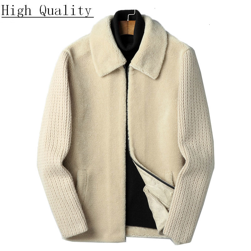 Men's Fur Coat 100% Wool Autumn Winter Sheep Shearing Jacket Real Fur Men Short Korean Vintage Fashion Jackets KJ1427
