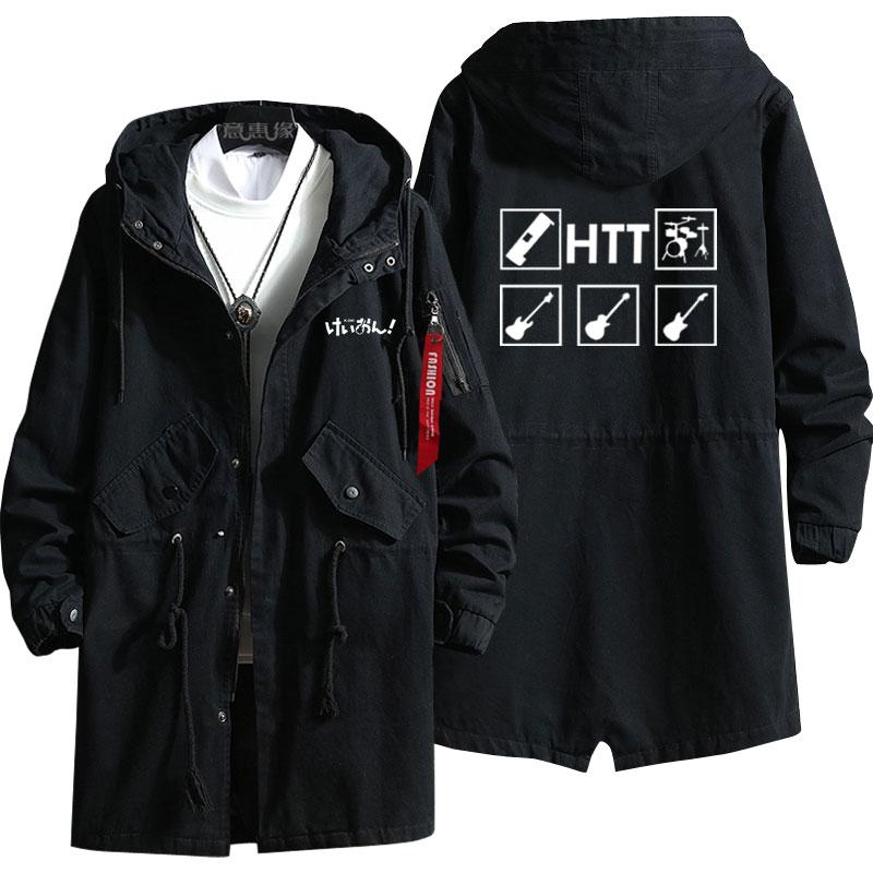 New K-ON! Hirasawa Yui Hoodie Akiyama Mio Anime trench coat Men fashion Fall wintercotton zipper Overcoat Jacket