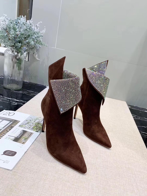 Г., модные короткие ботинки со сверлом женские ботинки на высоком каблуке с боковой молнией Ботинки martin черные ботинки на заказ - Цвет: Коричневый